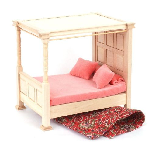 Barewood Dolls House Furniture Bare Essentials 1:12 BEF083 Four Poster Bed